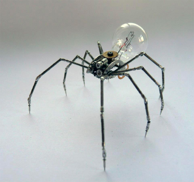 Spiders and insects made from watch parts and occasionally a light ...:By ...,Lighting