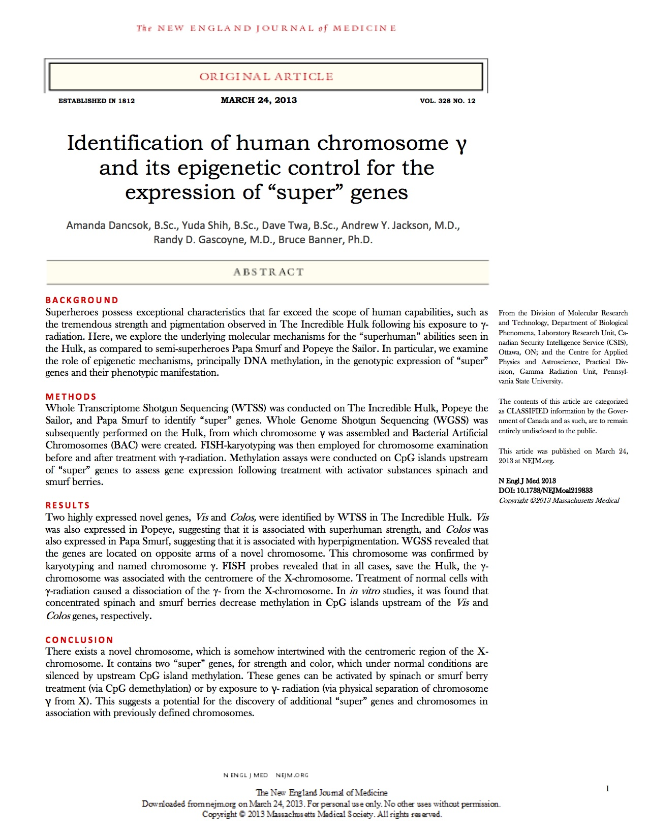 Research Paper On Hulk Genetics Need I Say More  Nejmhulksmurfpopeyepage